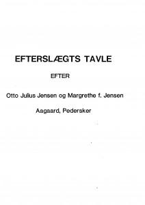 Efterslægtstavle efter Otto Juthe f Jensen Aagaard Pedersker 1