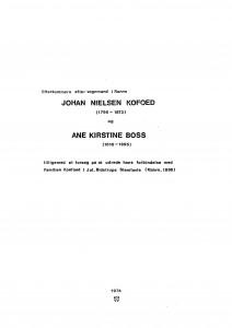 Johan Nielsen Kofoed og Ane Kirstine Boss efterkommere 1