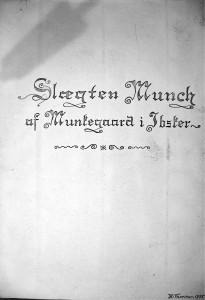 Slægten Munch af Munkegaard i Ibsker - af K Thorsen 1935 1