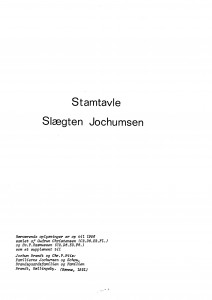Stamtavle Slægten Jochumsen - et supplement 1