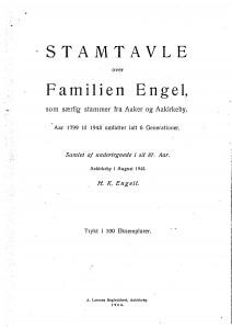 Stamtavle over Familien Engel er fra Aaker og Aakirkeby 1943 1