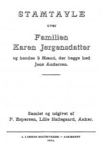 Stamtavle over Familien Karen nd der begge hed Jens Andersen 1