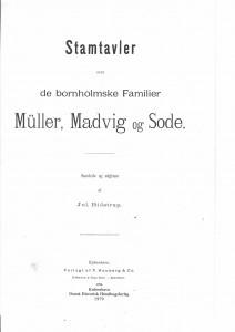 Stamtavle over de bornholmske familier Müller Madvig og Sode 1