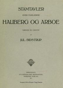 Stamtavler over familierne Hauberg og Arboe forside