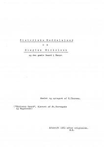 Historiske Meddelelser om Slæg gamle Gaard i Rønne K Thorsen 1
