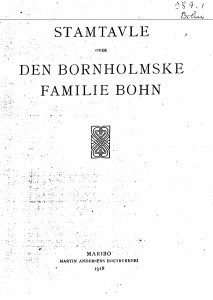 Stamtavle over den bornholmske familie Bohn 1